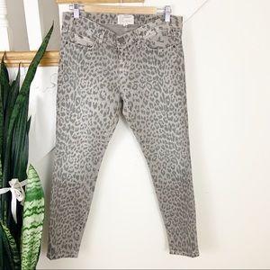 Current Elliot Leopard Print gray skinny jeans 29